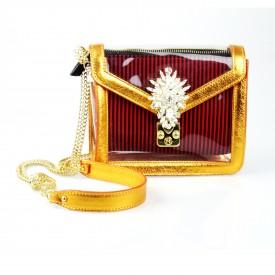 BBess Bag - Wallet Chain in Vinile Trasparente con Bordo in Pelle e Chiusura  a Scatto in Cristallo / Rosso-arancio