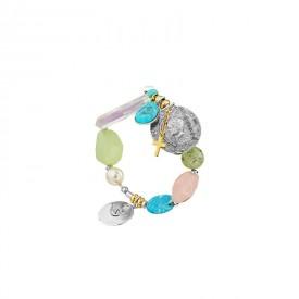 Bracciale Gaia Con Pietre Semipreziose, Charms in Metallo e Cristalli
