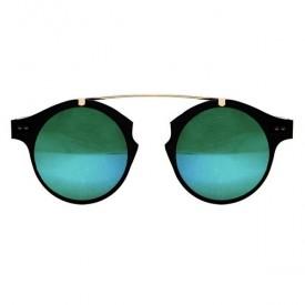 Occhiali da Sole Intergalactic con Montatura in Metallo Nero/Dorato e Lenti a Specchio Verdi
